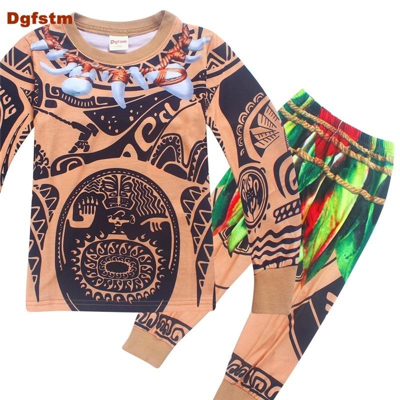 цены на DGFSTM Moana Maui T Shirt Baby Boys Clothes Sets Full Sleeve Cartoon T Shirts&Pants Children Sports Suits 2PC Outfits Tracksuit в интернет-магазинах