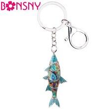 Bonsny эмаль пресноводный брелок рыба кольцо для ключей с сумочкой сумка Шарм брелок аксессуары Мода океан животное ювелирные изделия для женщин