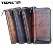 TERSE_2016 Hot Sale wallet Genuine Leather Men Long Purse Zipper Wallet Italian Design Fashion Men Wallets dropshipping Service