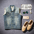 2016 Fashion Ripped Slim Sleeveless Men Jeans Jackets Vintage Casual Solid Mens Vest Coat High Quality Denim Jacket Men #HXA001