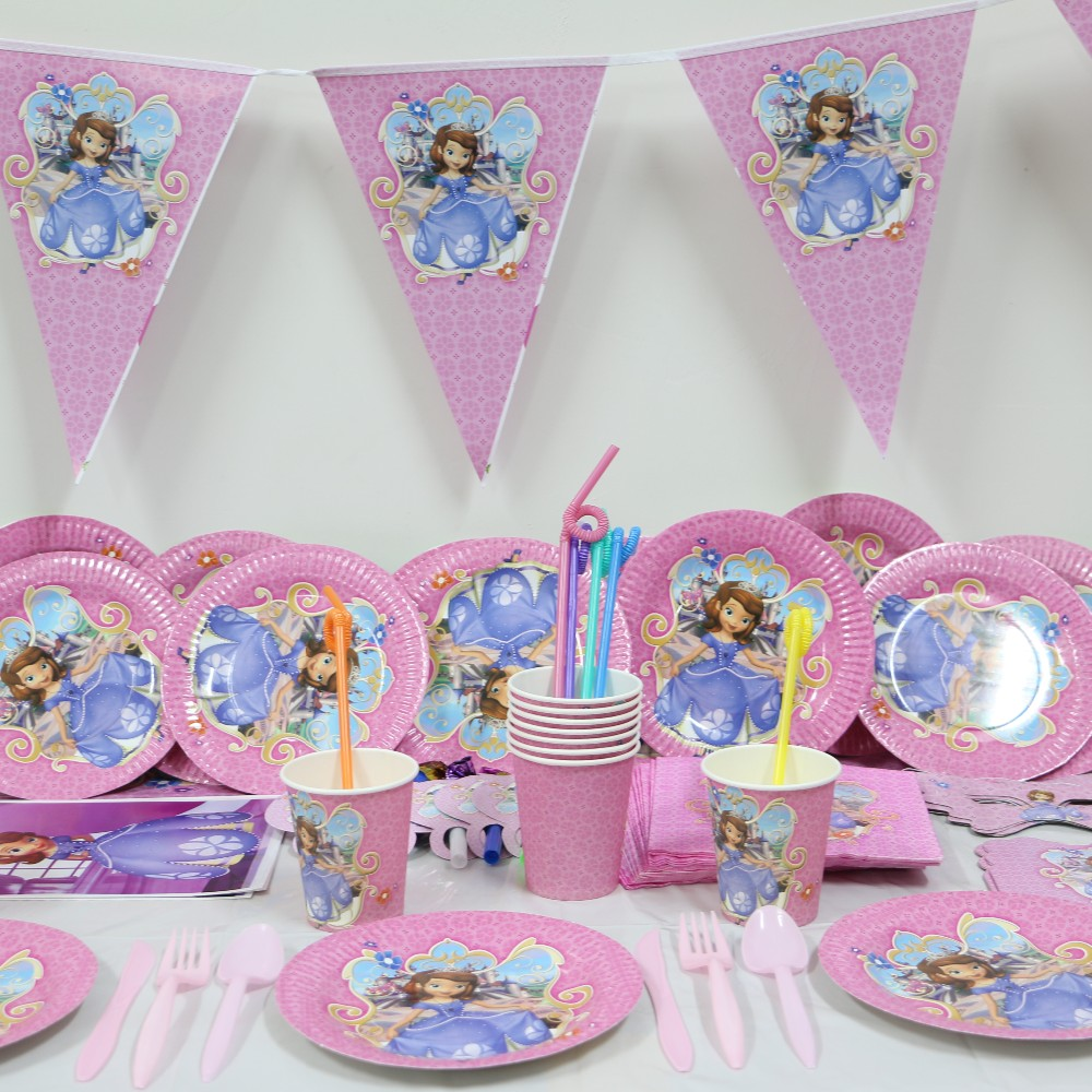 1pack 40pcs Wholesale Sophia Princess Baby 1st Birthday Theme Party Supplies Kids Party Decoration Supplies For 6 People Use Aliexpress