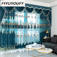 Chenille cashmere Blackout curtains for living room French window high quality curtains for Kitchen with Window Treatment Drap