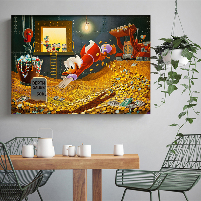 Duck Home Decor: Donald Duck And Uncle Scrooge Poster HD Canvas Painting