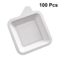 100 шт. Пластины практичные квадратные хранения безопасные одноразовые тарелки бумажные тарелки для закуски десерт фруктовый торт