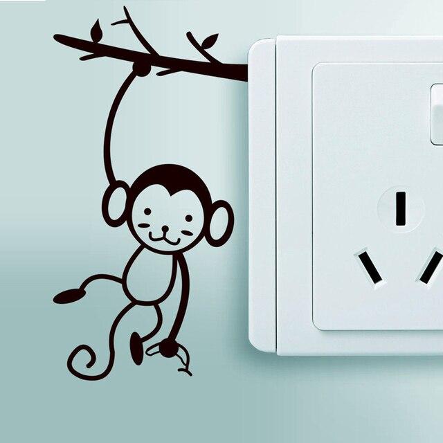 Animal Cartoon Switch Sticker Small Black Monkey Art Eco Friendly Wallpaper Vinyl Wall Stickers Home