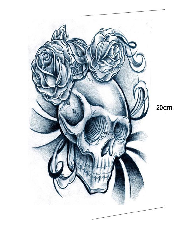 Tato Hitam Putih : hitam, putih, Tattoo, Original, Design, Simulation, Waterproof, Black, White, Skull, Tattoos, Realistic, Looking, Temporary, AX72|skull, Tattoos|skull, Tattoorose, AliExpress