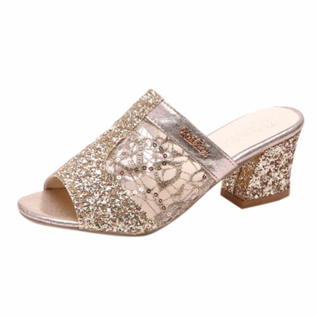2019 Woman Slippers Mules Rhinestones Crystal Gladiator Outside Flip Flops  Square Heels Open Toe Comfortable Sandals 549acdd5041a