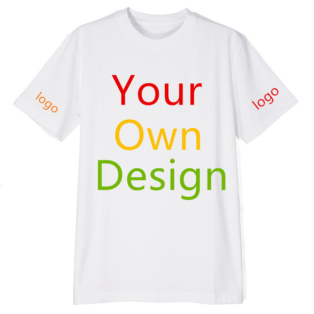 91eaec81 Custom T-Shirt Personalized Tee Add Your Design Logo Image Picture Front &  Back-2 Side sleeve logo printing