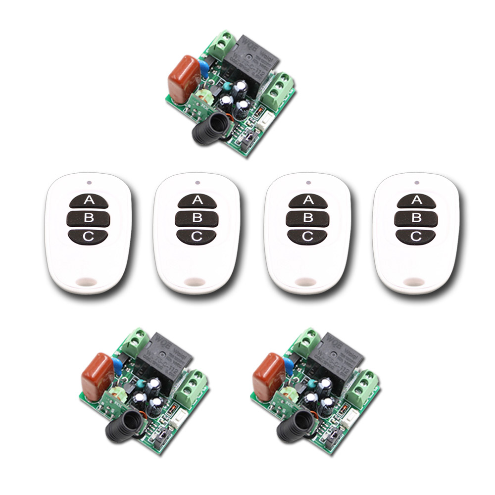 AC 220V 1CH 10A Wireless Remote Control Switch Mini Relay Receiver + 4 Transmitter Light Lamp LED SMD Control 315Mhz/433Mhz ac 220 v 1 ch wireless remote control switch system 4x transmitter with 2 buttons 1 x receiver light lamp ledon off 315 433mhz