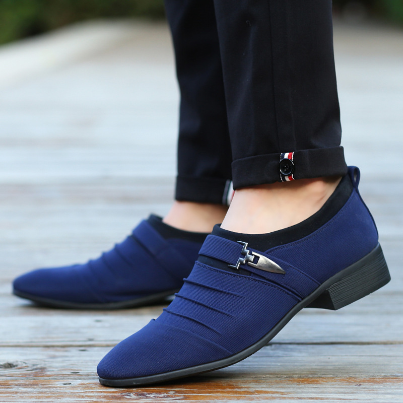Oudiniao Respirant Tailles Robe Appartements Pour De bleu Classiques Pointu Casual Toile Bout Chaussures Sur Hommes Mode Glissent Grand gris Noir XXS0ax