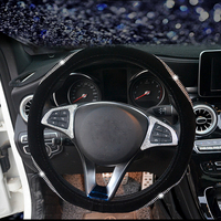 Short Plush with Crystal Rhinestone Steering Wheel Covers Case Diamond Auto Steering Wheel Covers For Girls Car Accessories Steering Covers    -