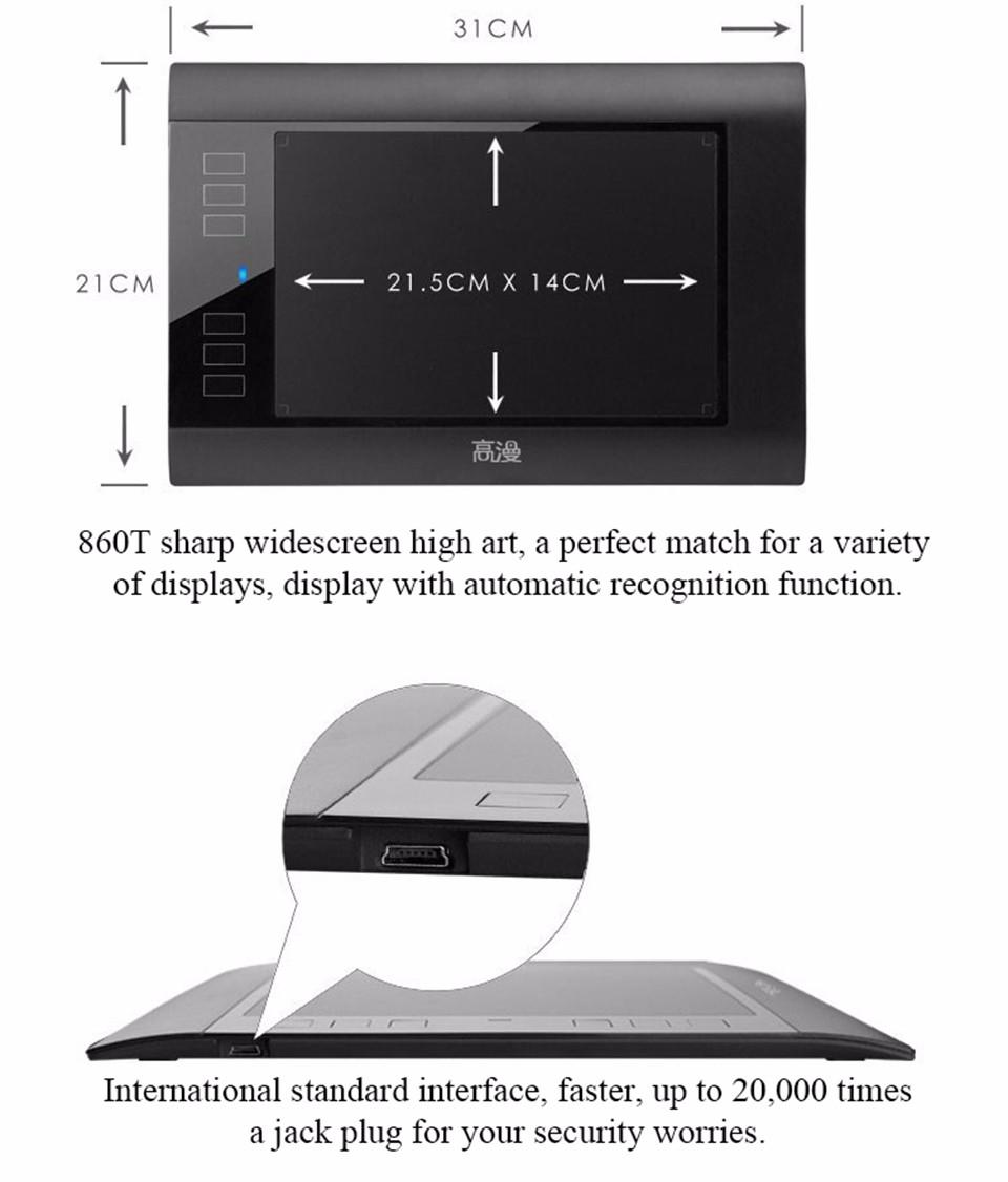 gaomon графика 860 т цифровой таблетки USB на pentablet 8х5 дюймов с одной замены батарея ручка
