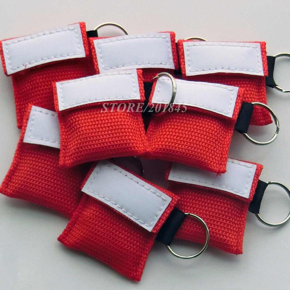 CPR Topeng Pelindung Muka Penyelamatan Darurat Kit Merah Tas Nilon dengan Gantungan Kunci Katup Satu Arah Menghindari Infeksi Silang