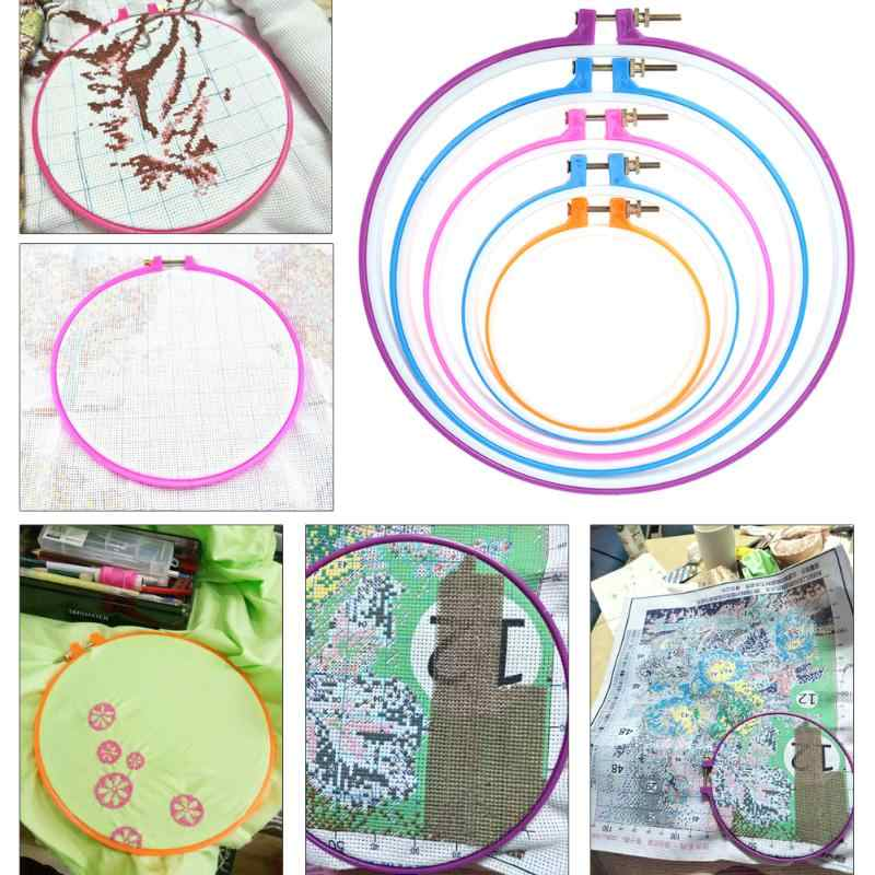 5pcs Bead Embroidery Kits Beadwork Frame Hoop Hand Set Cross Stitch Set Sewing Hoop Ring DIY Household Craft Sewing Tools