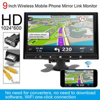 9 Inch HD IPS TFT LCD Color Multifunction Car Headrest Rear View Monitor Support HDMI VGA AV Wireless Mobile Phone Mirror Link