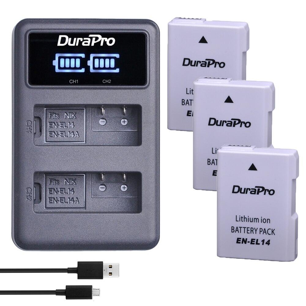 1200 mAh EN-EL14 EN EL14 EL14A Cámara batería + LED cargador USB para Nikon EN-EL14 d5300 d5200 d5100 d3100 d3200 p710 Bateria