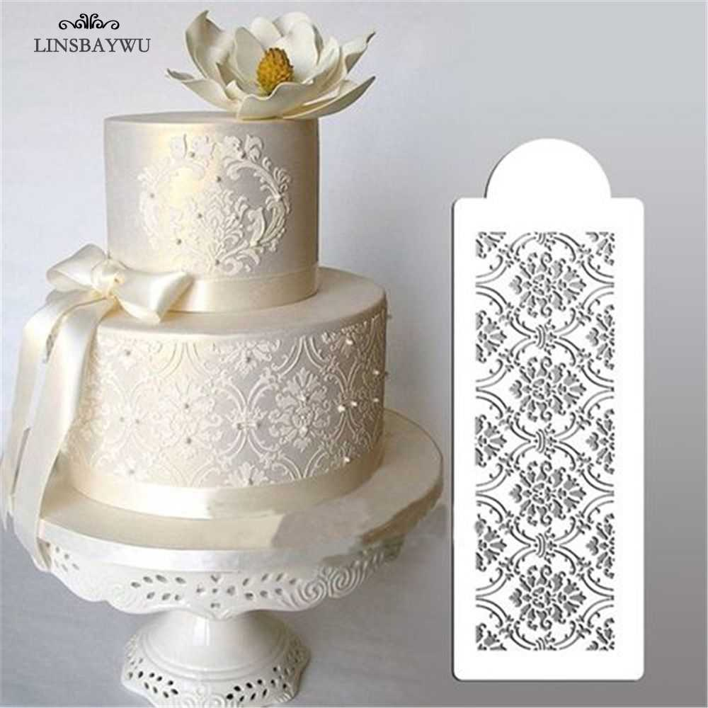 Cake Decorating Tool Damask Lace Border Cake Side Cupcake Stencil Sugarcraft Decoration Mould Baking Tool Kitchen Accessories