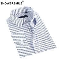 SHOWERSMILE Mens Modal Shirts Striped Dress Shirt Blue White Long Sleeve Spring Plus Size Cotton Formal