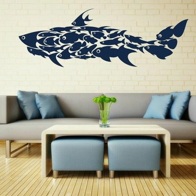 2017 NEW Shark Made Of Fish Fish Wall Sticker / Vinyl Art Decal / Fish Wall