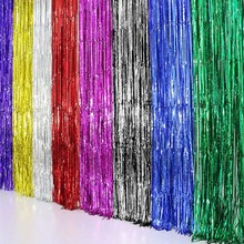 Beatiful Metallic Foil Curtain Wedding Decor Backdrop Foil Fringe Tinsel Shiny Backdrop Birthday Party Christmas Decoration