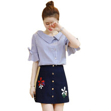 Fashion Women New Korean Stripe Chiffon Shirt & Blue Emboride Floral Skirt Two-Piece Short Shirts Vogue Lady S-XL