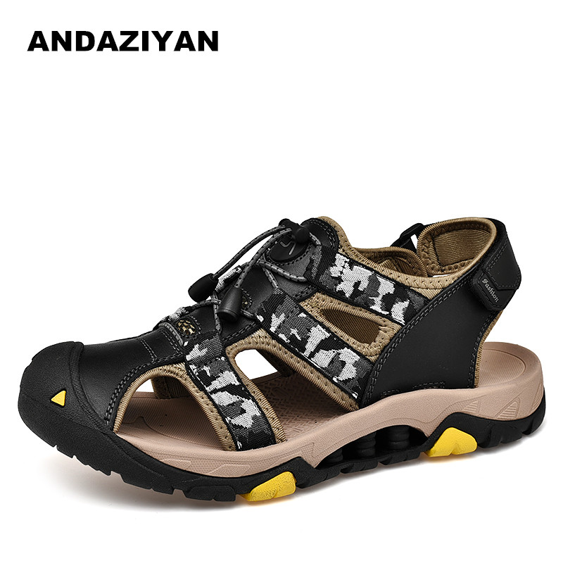 Creative Summer Sandals men casual leather beach shoes outdoor flats man light weight ultra men breathable in Men 39 s Sandals from Shoes