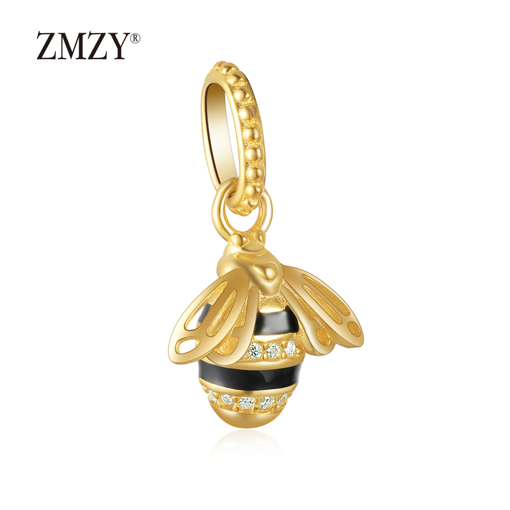 ZMZY New Original 925 Sterling Silver Charm Bead Shine Bee Necklace Pendant fit Pandora Charms Bracelet Women Gift Jewelry