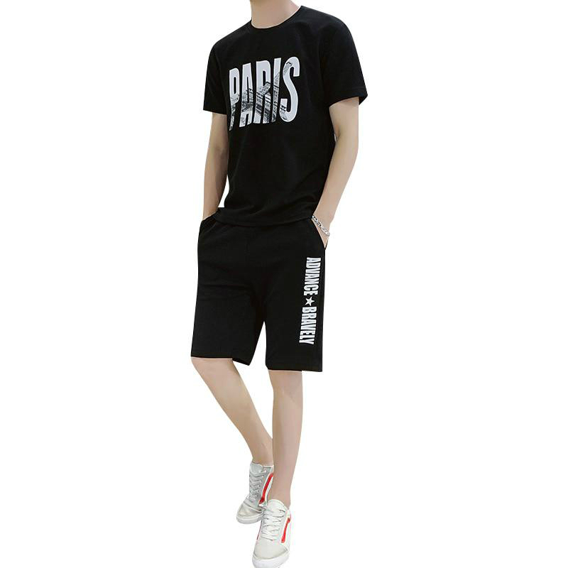 Two Piece Set Men Short Sleeve Men Tracksuits T Shirt Cropped Letter Top+Shorts Streewear O-Neck Sportswear Tops Short Trousers