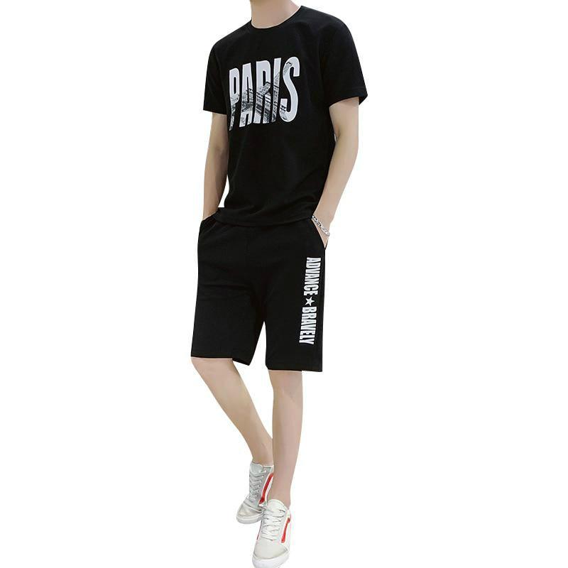 Two Piece Set Men Short Sleeve Men Tracksuits T Shirt Cropped Letter Top+Shorts Streewear O-Neck Sportswear Tops Short Trousers
