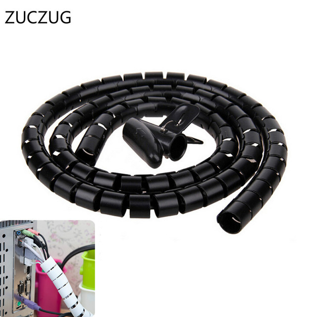 ZUCZUG NEW 1M/3.2ft Flexible Spiral Tube Cable Organizer Wire Wrap ...