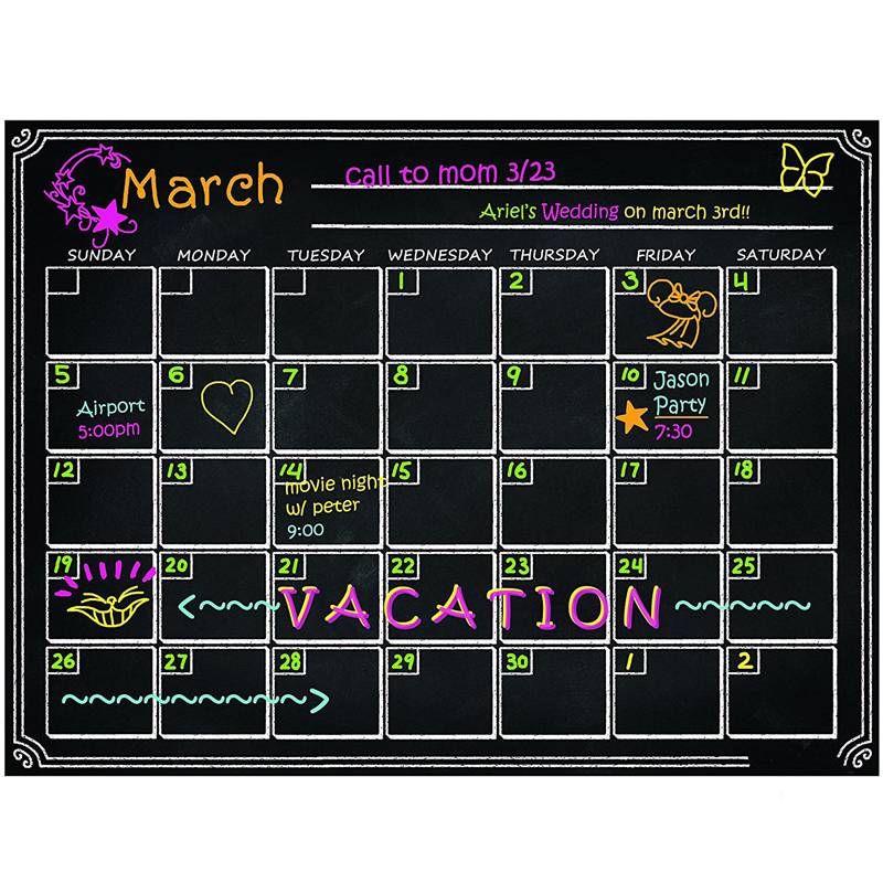 2019 Magnetic Monthly Calendar Environmental Protection Fridge Magnet Weekly Planner Home Classroom Reusable Office Supplies