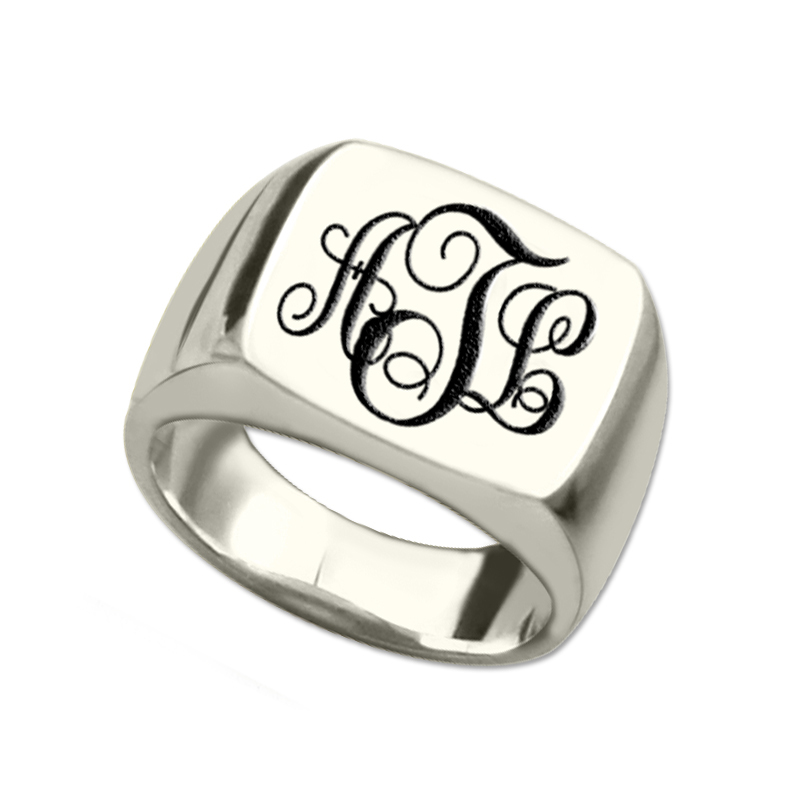 AILIN Silver Monogram Square Ring Personalized Initials Ring Engraved Monogram Name Ring Unique Vine Monogram Style Best Gift цена