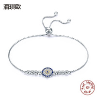 NEW 925 Sterling Silver Lucky Round Blue Eyes Power Tennis Bracelet Swarovski Crystal Adjustable Link Chain