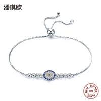 NEW 925 Sterling Silver Lucky Round Blue Eyes Power Tennis Bracelet Swarovski Crystal Adjustable Link Chain