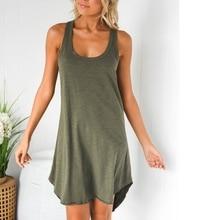 Women Summer Dress Sleeveless Round Neck Beach Sundress Solid Casual Loose Boho Vestidos Plus Size