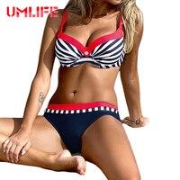 UMLIFE Sexy Striped Swimwear Women Push Up Bikini Set Retro Plus Size Swimsuit Brazilian Halter Biquinis