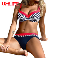 UMLIFE Sexy Striped Swimwear Women Push Up Bikini Set Retro Plus Size Swimsuit Brazilian Halter Biquinis