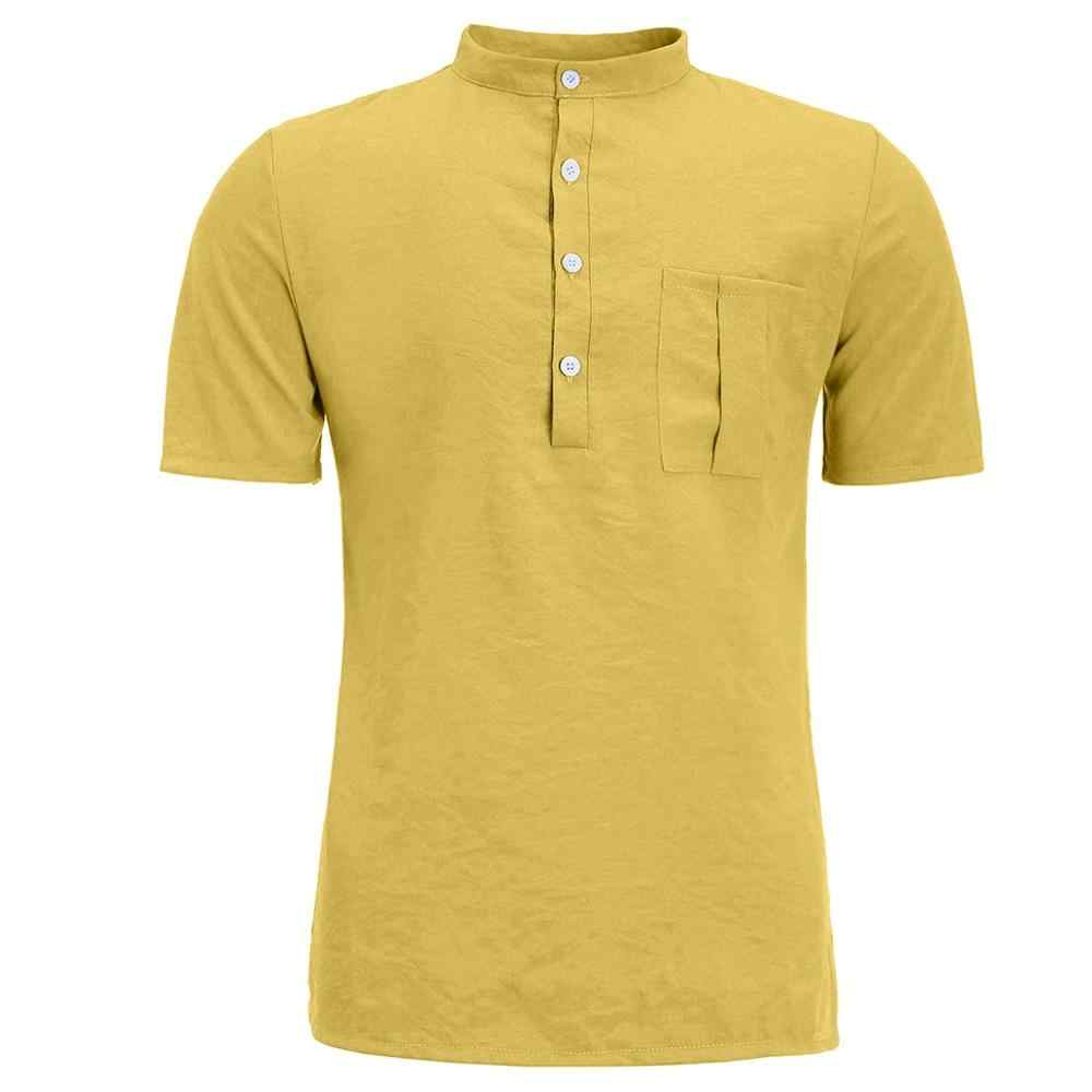 Męski letni gorący czysty konopny guzik z krótkimi rękawami koszula z mieszanki bawełny i lnu z kieszeniami Harajuku duża bluza wkładana przez głowę Top dla 2019 mężczyzn