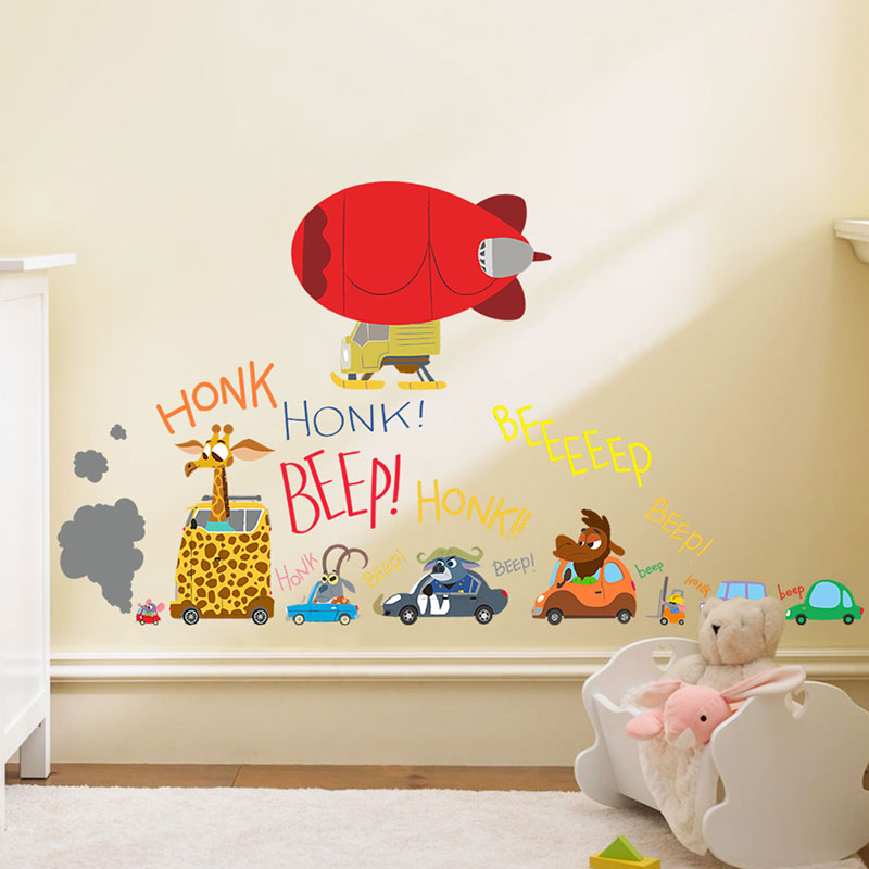 Creative Home Decor Cartoon Wall Stickers Crazy Animals Drive Cars Pattern For Baby Room Mural Art 30*60 CM Poster Wallpapers