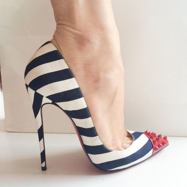 96cbe82c817a Women s Sexy Pumps Sheepskin Rivets Black White Stripe High Heels Pointed  Toe Ladies Party Shoes LAM