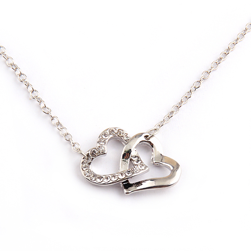 Free shipping Fashion white crystal double heart connected hug holiday gift