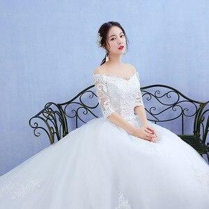 Image 4 - أنيقة قارب الرقبة نصف كم الدانتيل 2020 فستان زفاف جديد زين منظور مخصص حجم كبير ثوب زفاف Casamento L