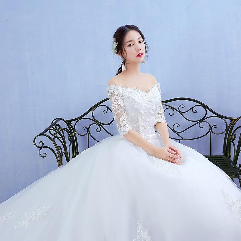 Image 4 - Elegant Boat Neck Half Sleeve Lace 2020 new Wedding Dress  Applique Perspective Custom Made Plus Size Wedding Gown Casamento  LWedding Dresses
