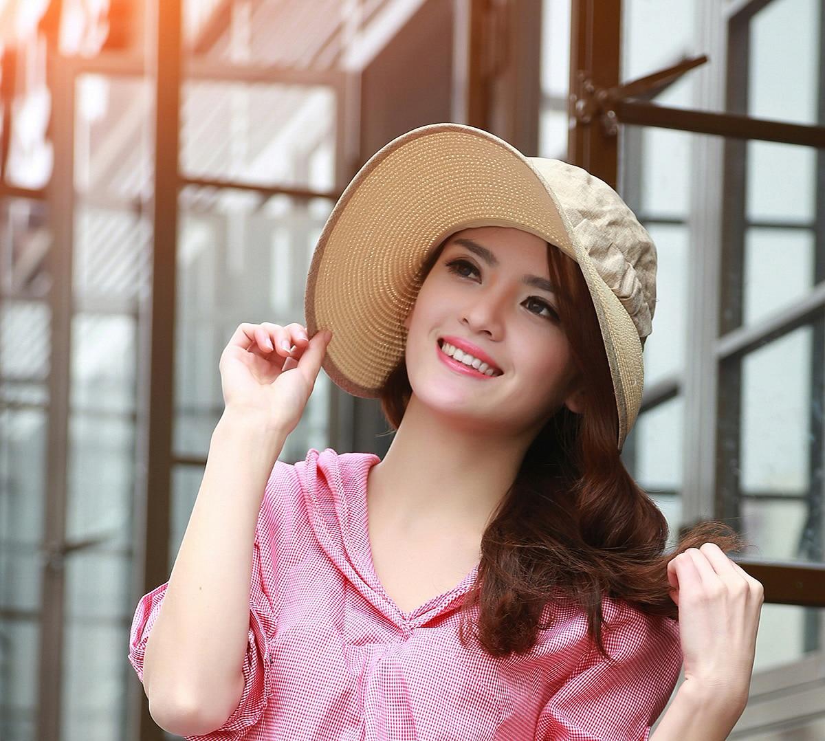 3a77de32188 2015 New fashion women summer sun cap cloth hat straw hat visor ...