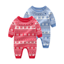 где купить Winter Knitted Newborn Girls Rompers Toddler Infant One Piece Jumpsuits Autumn Long Sleeves Baby Boys Overalls Children Clothing дешево