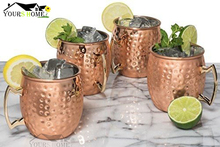 4 Pieces 550ml 304 Stainless Steel Drum Type Moscow Mug Hammered Copper Plated Beer Cup Water Glass Drinkwares