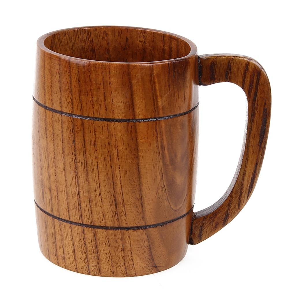 Handle Practical Wooden Drinking Cups Large Capacity Classical Milk Coffee Tea Handmade Home Bar Beer Cup Teacup