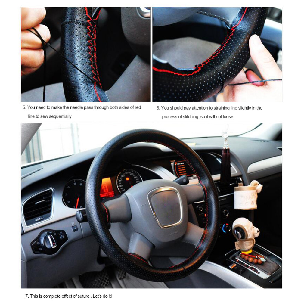 Universal 36-40cm Anti-slip Genuine Leather DIY Car Steering Wheel Cover Case With Needles and Thread Car Cover Car Styling 6
