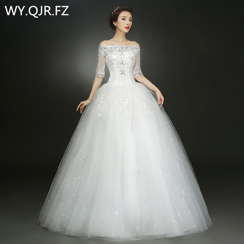 XXN030B#Spring summer 2019 new white red lace up bride Dresses cheap  wholesale plus size wedding dress Embroidered Lace on Net