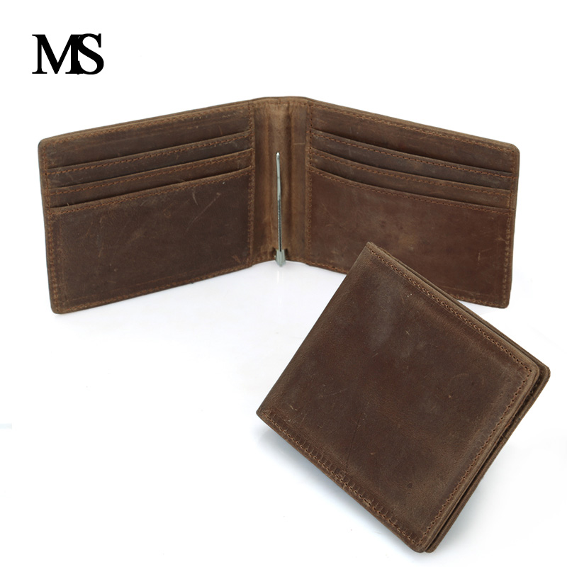 MS Hight Quality Men Wallet Short Skin Wallets Purses Fashion Genuine Leather Money Clips Sollid Thin Wallet For Men TW1601-1 huge stock super thin skin v loops toupee for men natural straight no knots hair pieces for men